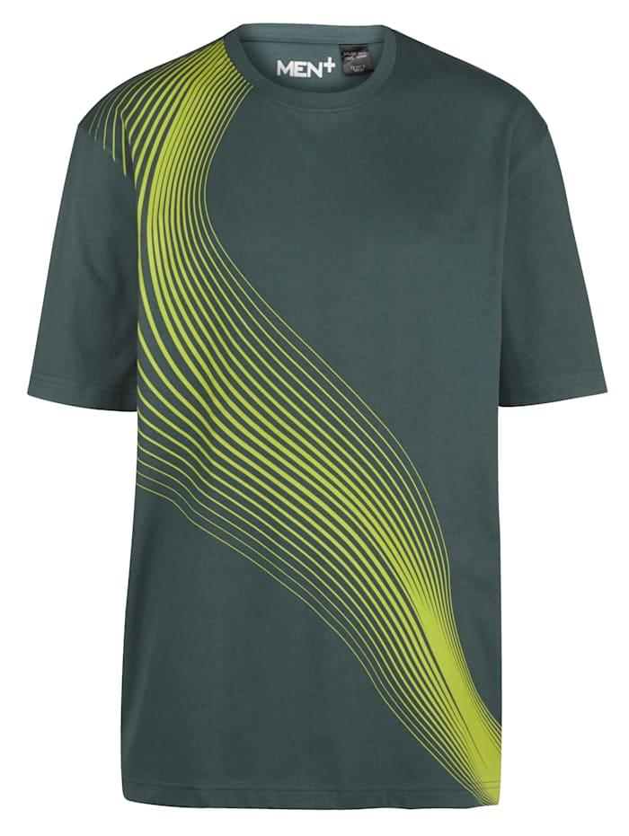 Men Plus T-shirt met contrasterende print, Donkergroen/Neongeel