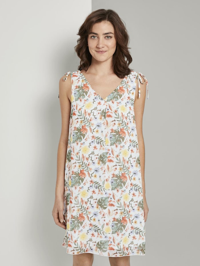 Tom Tailor Ärmelloses Chiffon-Kleid mit Schulter-Detail, white watercolor flower design