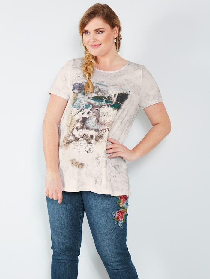 Sara Lindholm Shirt met hertmotief, Wit/Beige