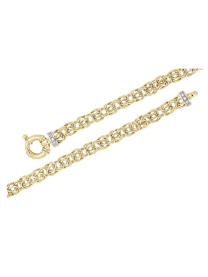 Amara Gold Königskettenarmband mit Diamanten, Gelbgoldfarben