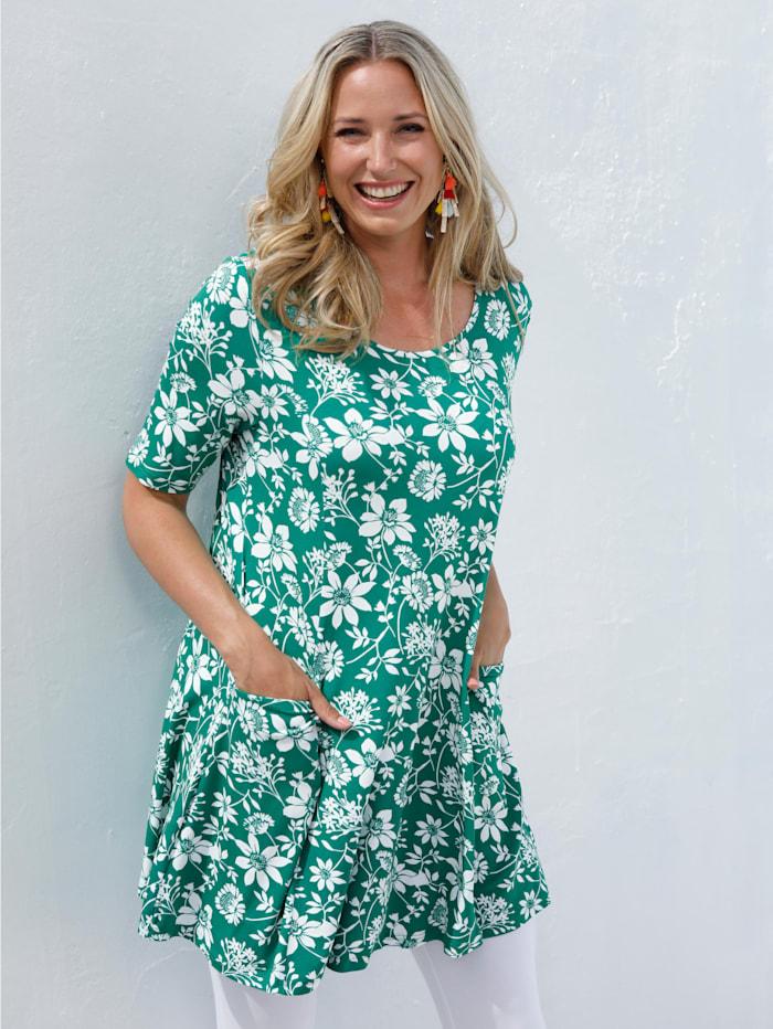 MIAMODA Longshirt mit floralem Alloverprint, Grün