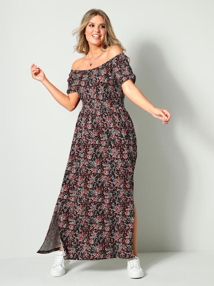 Janet & Joyce Maxi-jurk met plooitjes, Zwart/Roze/Rood