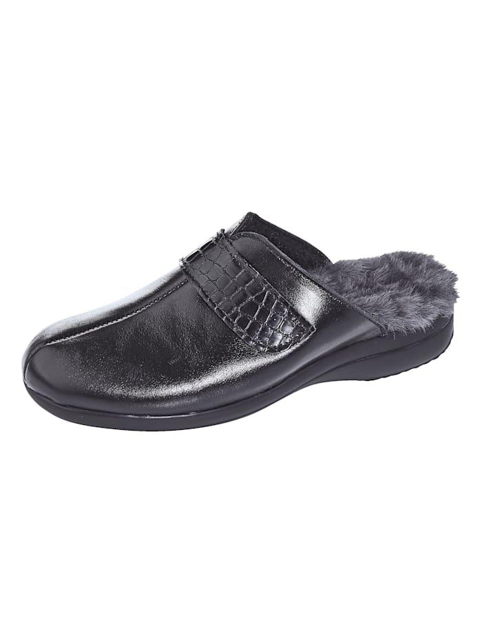 FONDA Pantoffel mit verstellbarem Klettverschluss, Schwarz