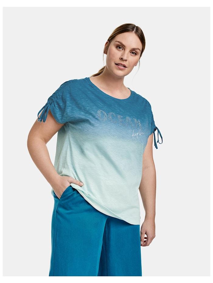 Samoon T-Shirt mit Farbverlauf aus Bio-Baumwolle, Skylight gemustert