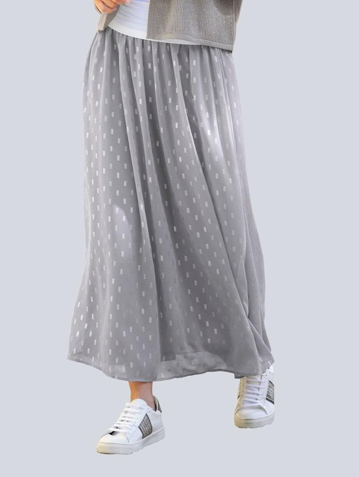 Alba Moda Jupe à imprimé brillant, Gris/Coloris argent