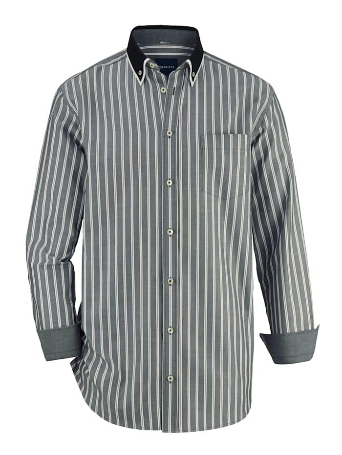 BABISTA Overhemd met dubbele kraag, Zwart/Wit