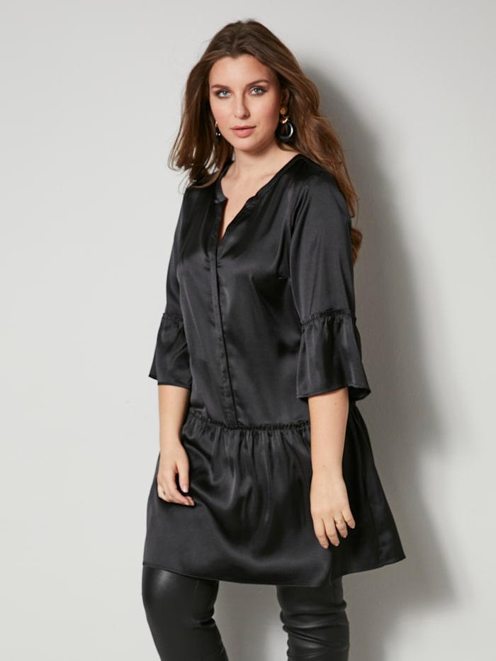 Sara Lindholm Tunika-Bluse mit Glanzeffekt, Schwarz