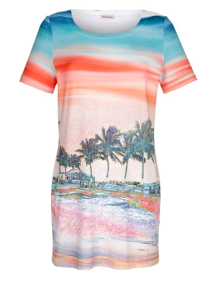Alba Moda Strandkleid mit Fotodruck, Orange-Bunt