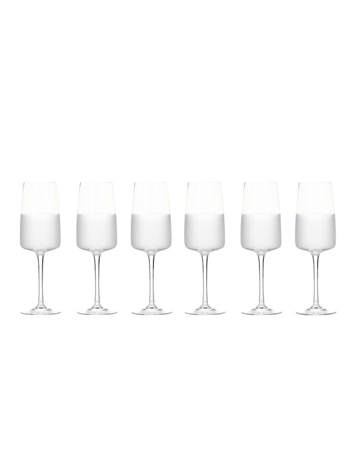 IMPRESSIONEN living Lot de 6 verres à vin, Transparent/laiteux