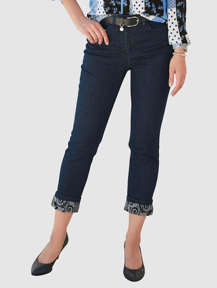 MONA Jeans mit Flockdruck in floralem Dessin, Blau