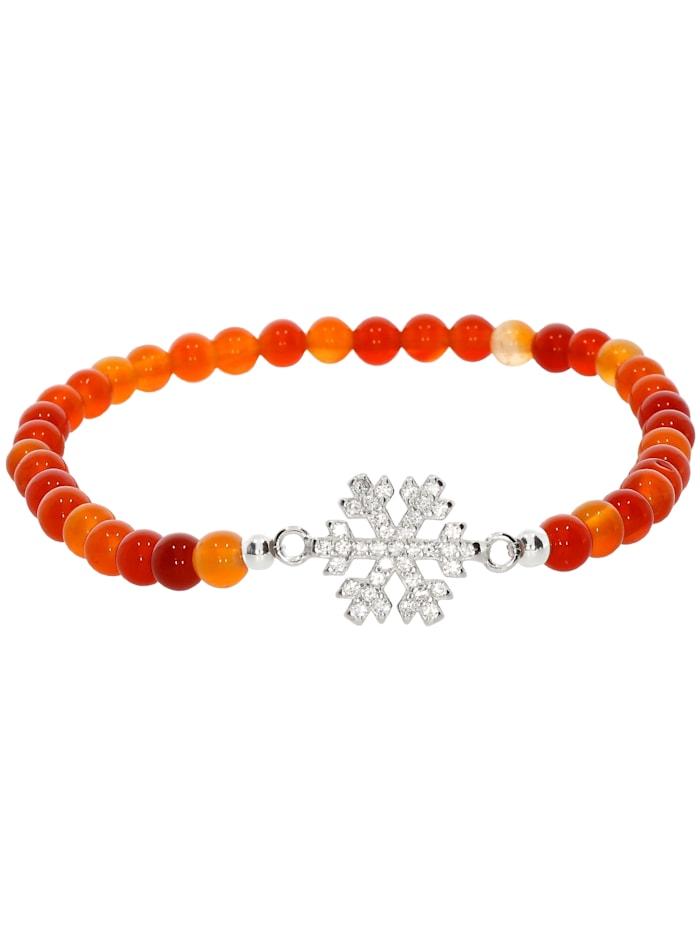 1001 Diamonds Schneeflocke Karneol Armband 925 Silber 17 cm, orange