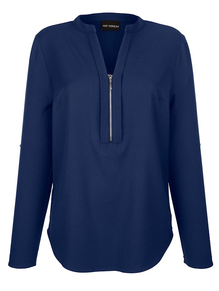 AMY VERMONT Bluse mit unifarbenem Rückteil aus Jersey, Marineblau
