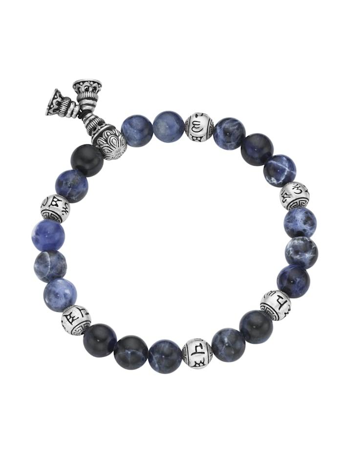 Giorgio Martello Armband Sodalith-Kugeln und tibetische Glücks-Symbole, Silber 925, Blau