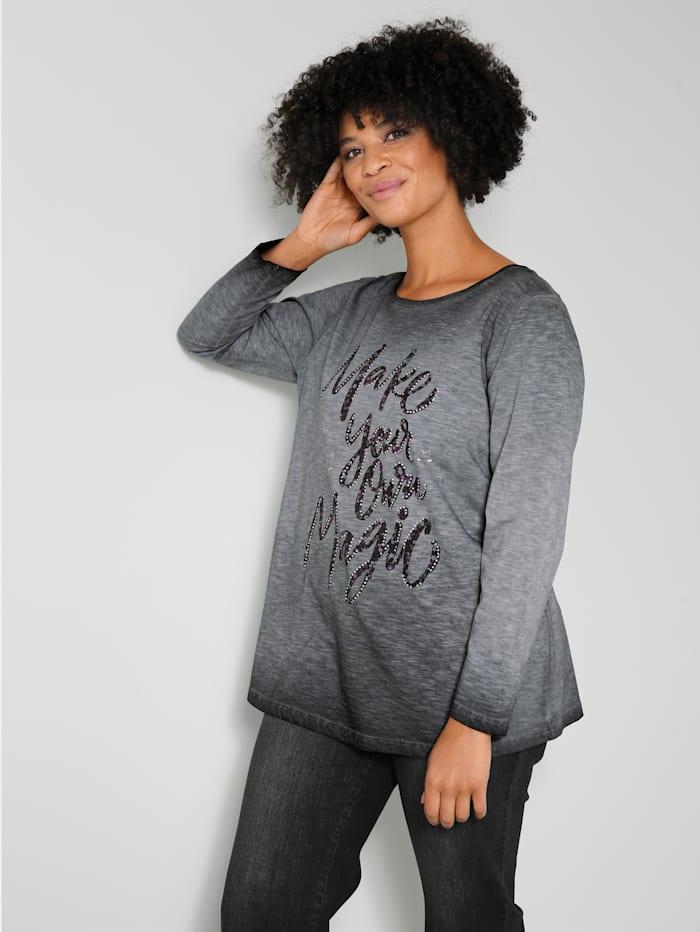 Angel of Style Shirt mit glänzenden Nieten, Grau