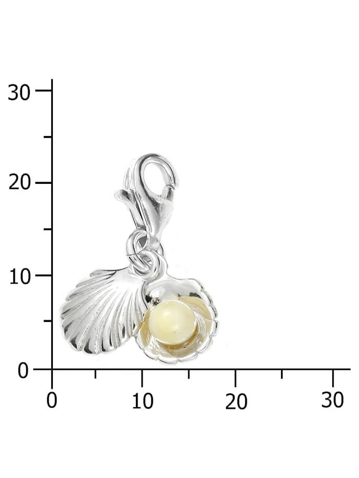 Charm-Einhänger - Muschel - Silber 925/000 - Bernstein