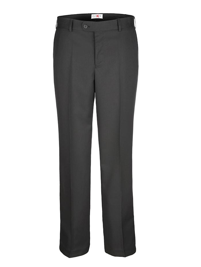 Roger Kent Pantalon sans pinces en matière agréable à porter, Noir