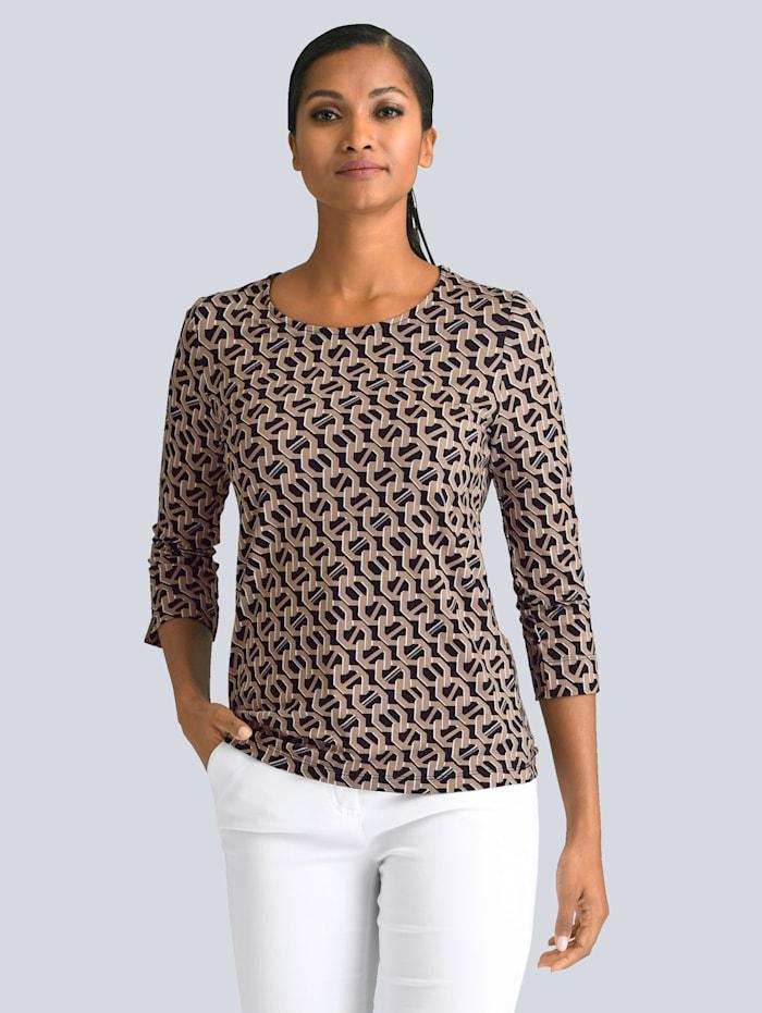 Alba Moda Shirt met modieuze print rondom, Zwart/Goudkleur