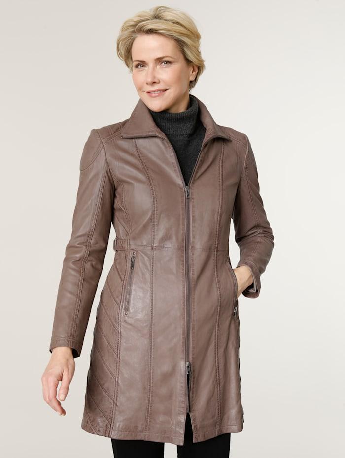 MONA Veste en cuir avec superbe agencement des coutures, Taupe
