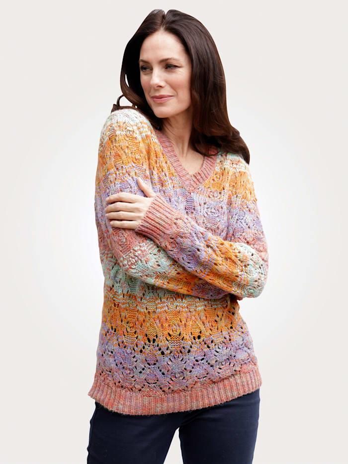 MONA Pullover mit Ajourstrick, Terracotta/Lavendel/Mintgrün
