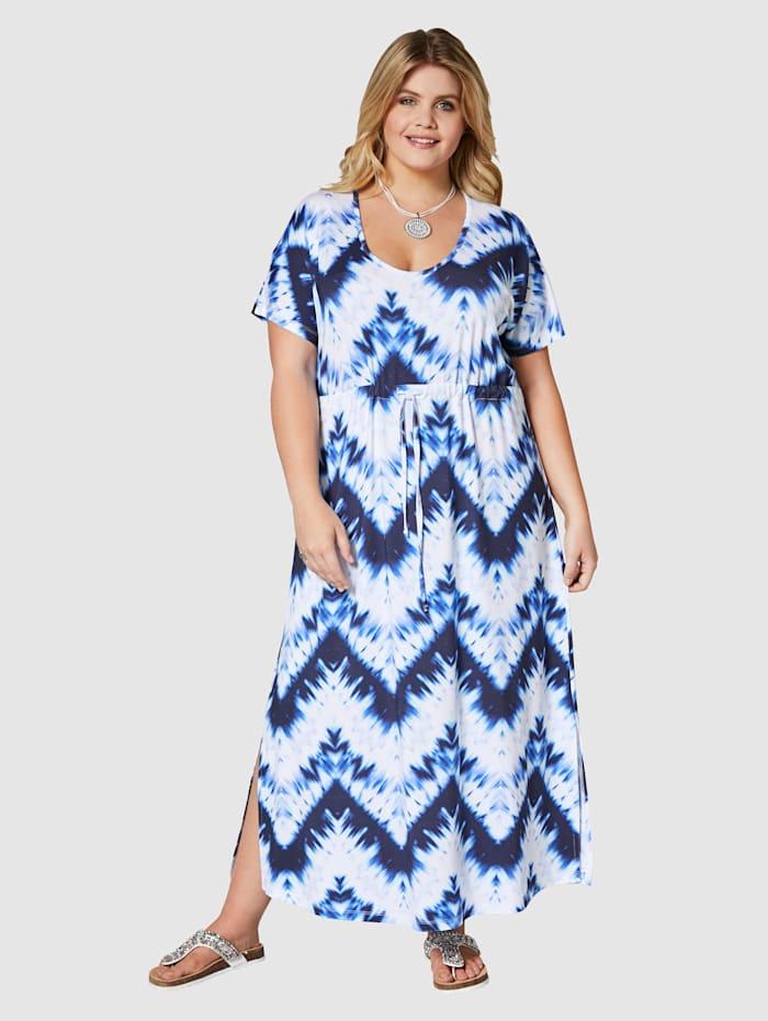 Angel of Style Maxikleid mit Batikdruck, Weiß/Blau
