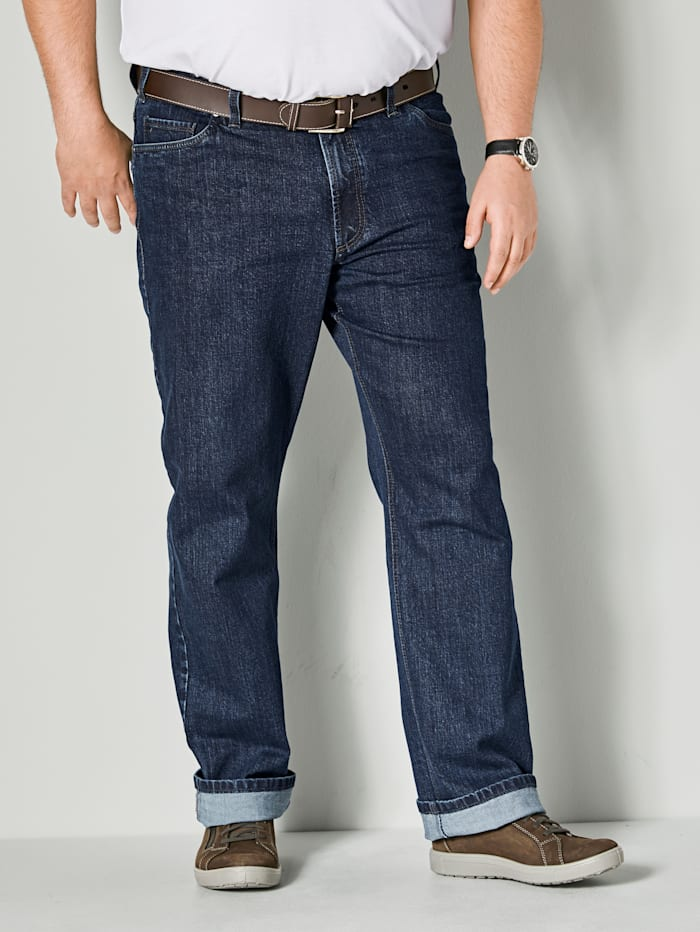Men Plus Jeans in 5-Pocket Form, Blue stone