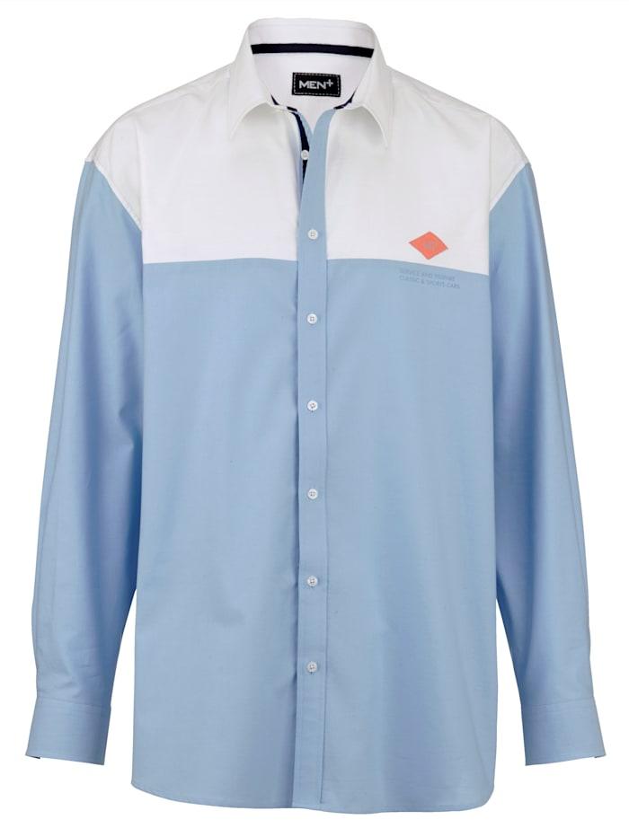 Men Plus Hemd aus reiner Baumwolle, Hellblau/Weiß