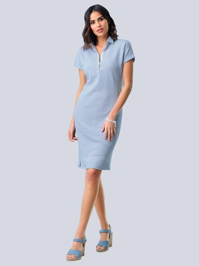 Alba Moda Jurk van sportief seersucker materiaal, Lichtblauw/Wit