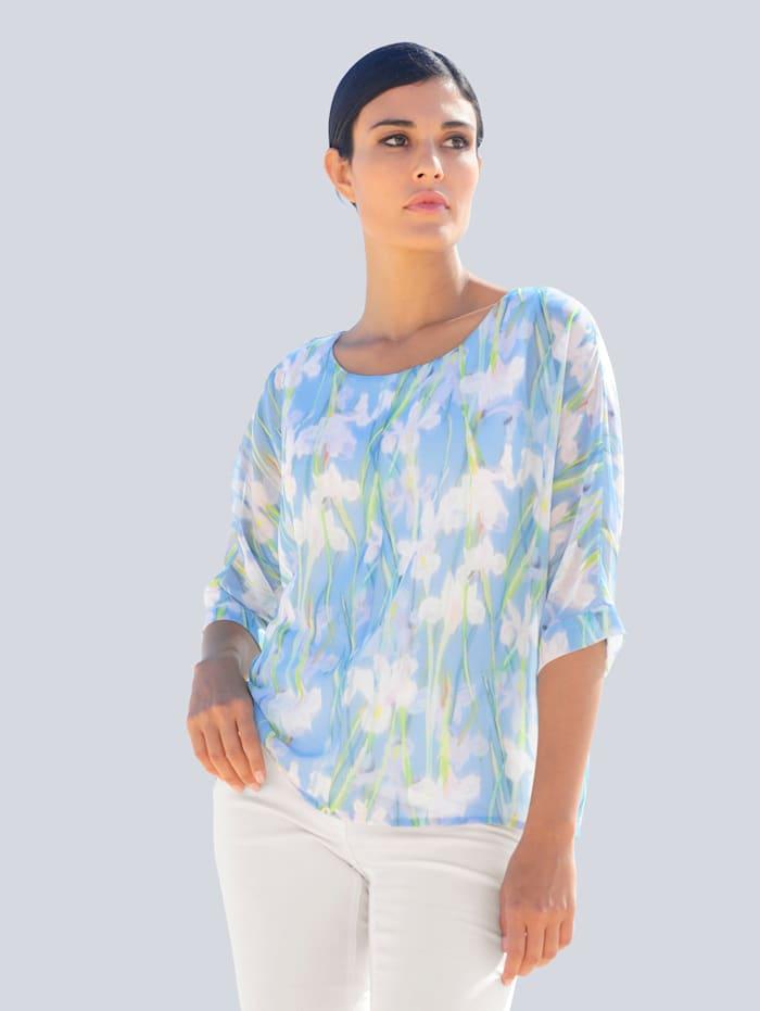 Alba Moda Blouse met harmonieuze bloemenprint rondom, Blauw/Offwhite