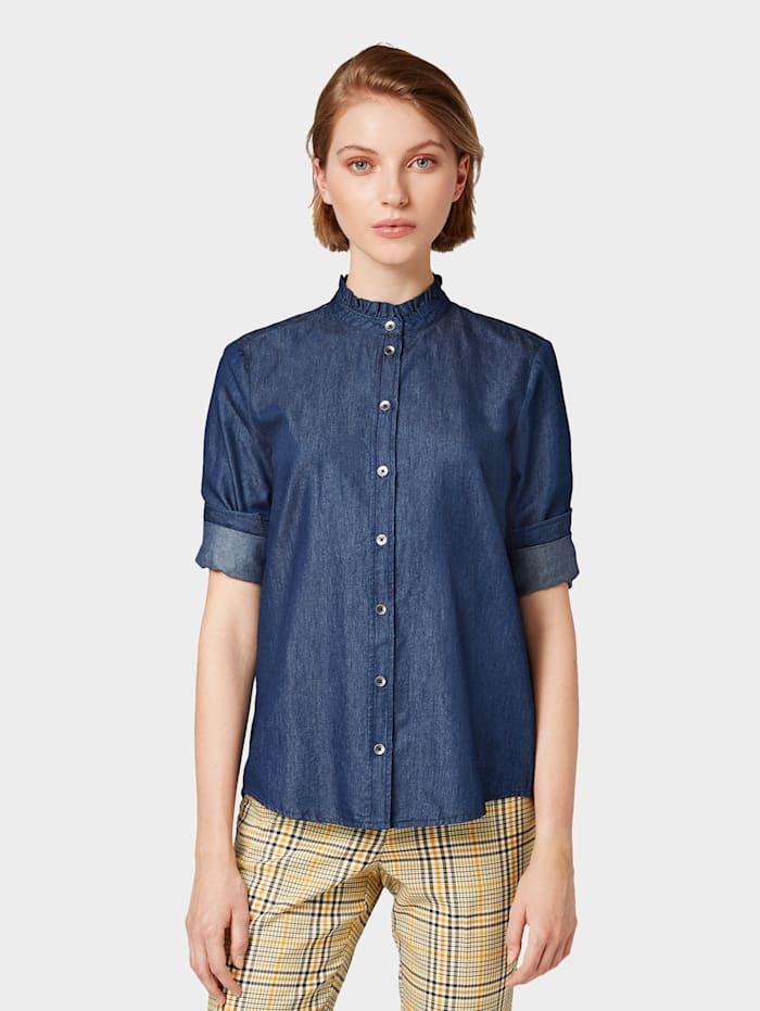 Tom Tailor Nena & Larissa: Jeansbluse mit Stehkragen, Blue Denim