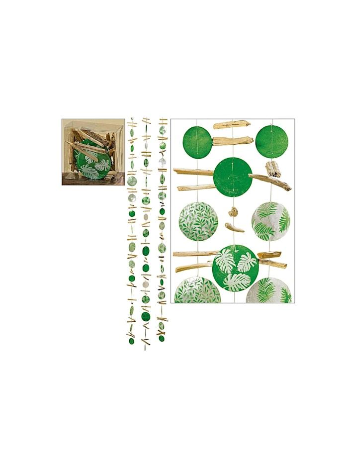 HTI-Living Capiz-Girlande Blatt L180cm Natur 3fach sortiert, Natur, Grün