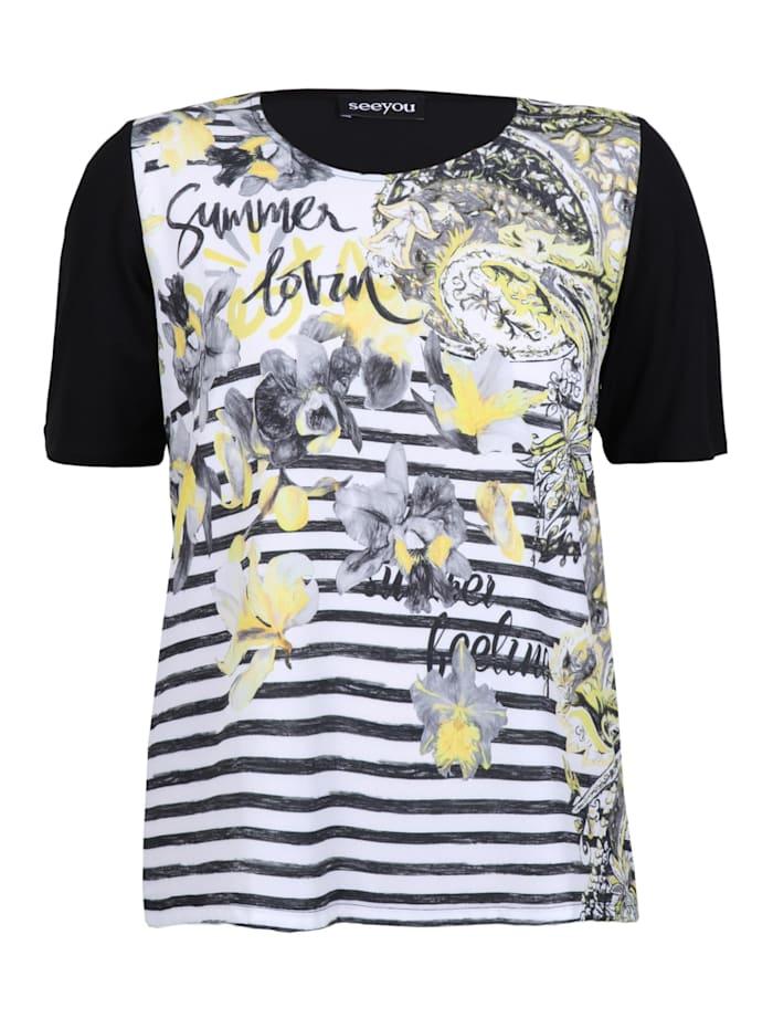 seeyou Shirt mit Materialmix ., schwarz