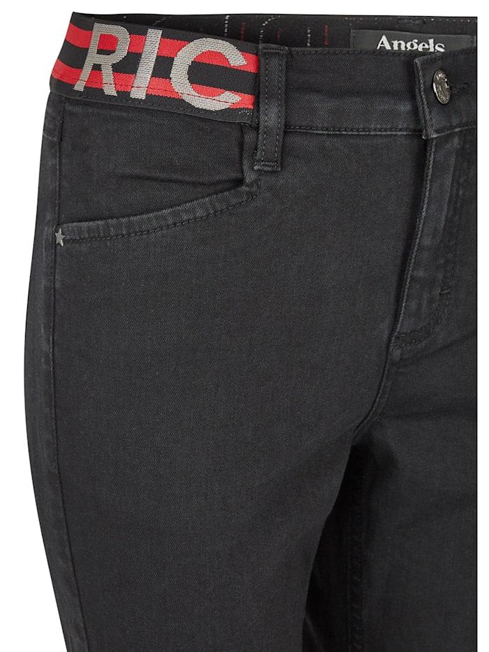 Jeans 'Skinny Sporty Fringe' mit elastischem Bund