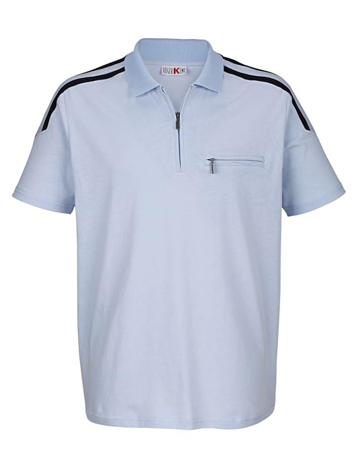 Roger Kent Poloshirt met contrastkleur op de schouders, Lichtblauw