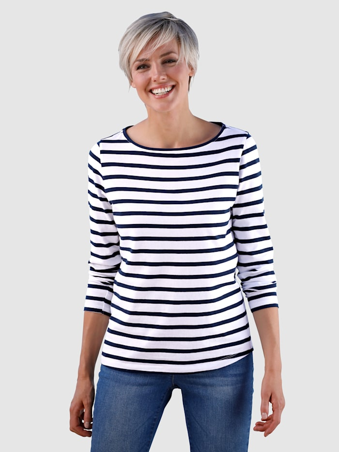 Dress In Shirt mit sportlichen Streifendesign, Marineblau/Weiß
