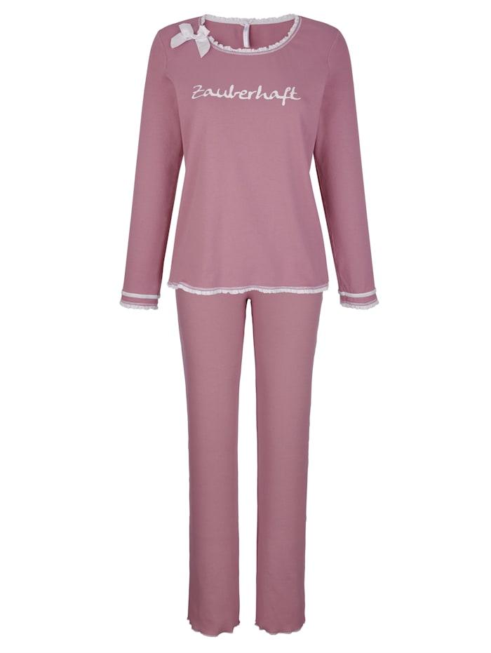 Louis & Louisa Pyjama en jersey côtelé confortable, Bois de rose/Blanc