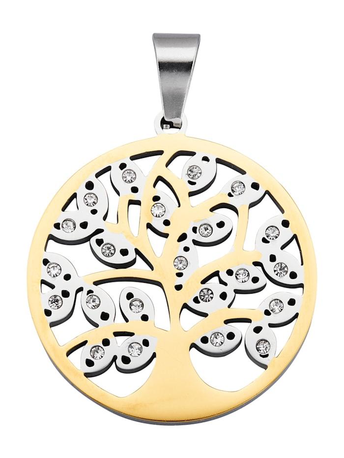 Magnetic Balance Lebensbaum-Anhänger, Edelstahl, Gelbgoldfarben