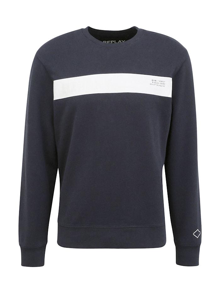 REPLAY Sweatshirt mit Kontrast-Print, dark blue..