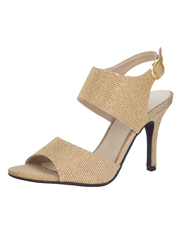 Sandales à effet brillant, Coloris or
