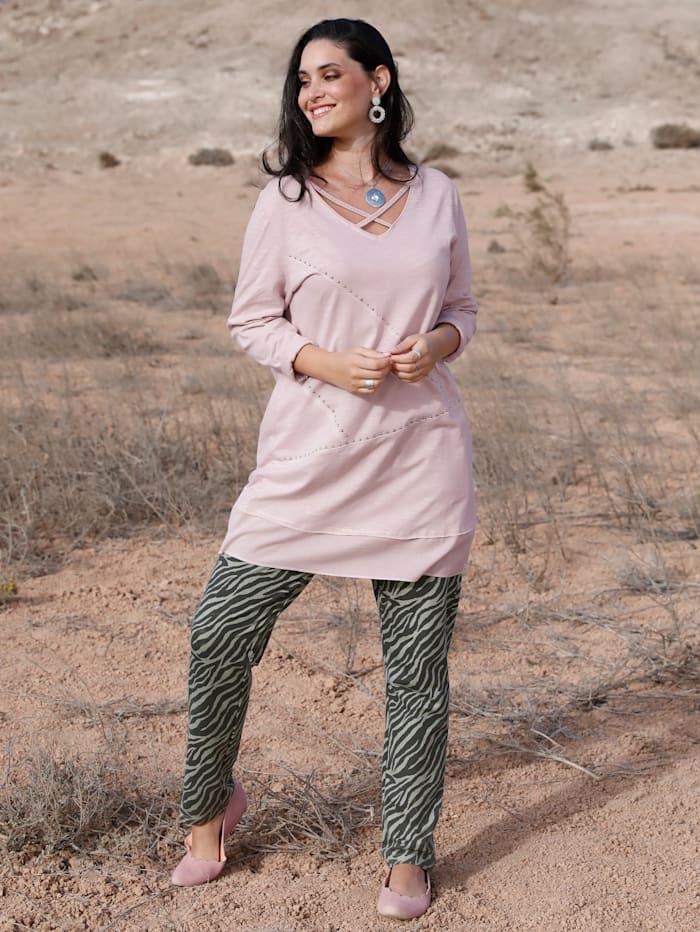 MIAMODA Longshirt mit Bändern am Ausschnitt, Rosé