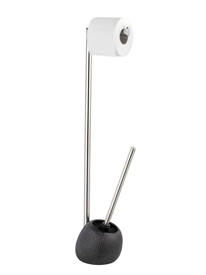 Wenko Stand WC-Garnitur Polaris Jet, aus hochwertiger Keramik und rostfreiem Edelstahl, Grau - Anthrazit