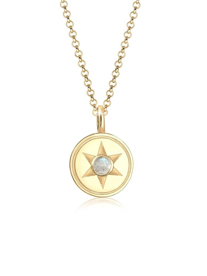Elli Halskette Stern Astro Labradorit Edelstein Coin 925Er Silber, Gold