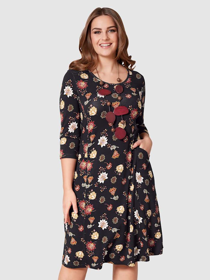 Janet & Joyce Jersey-Kleid mit floralem Druck, Schwarz/Rot