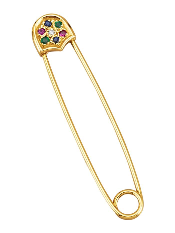 Amara Pierres colorées Broche en or jaune 585, Coloris or jaune