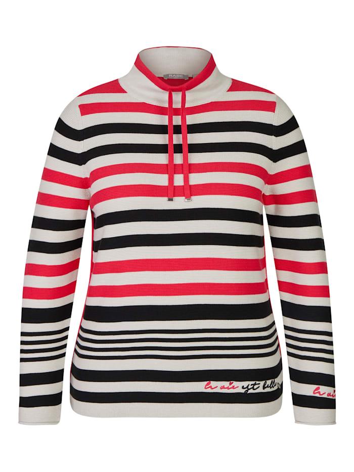 Rabe Pullover mit geringeltem Allover-Muster und Galonstreifen, KORALLE