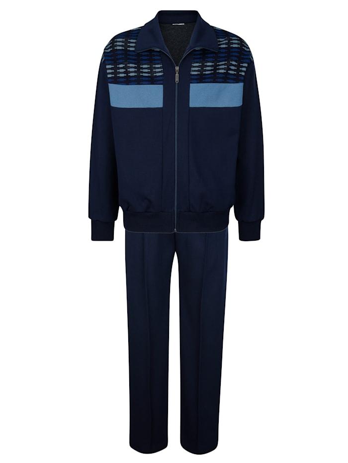 Dannecker Joggingpak met mooie jacquardinzet, Marine/Lichtblauw/Royal blue