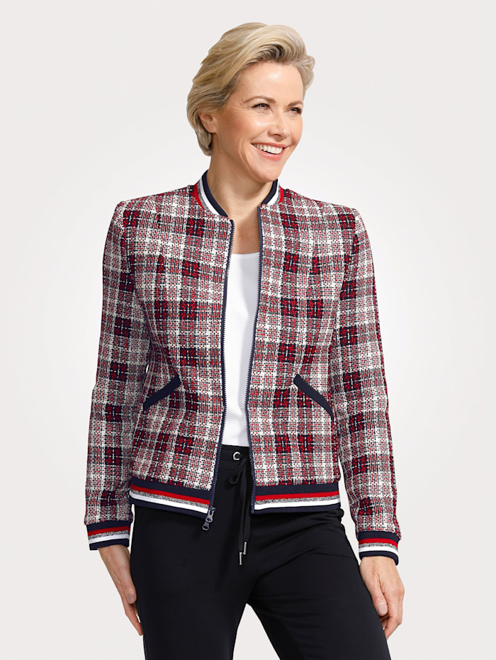 MONA Jacket in a blouson cut, Red/Navy/White
