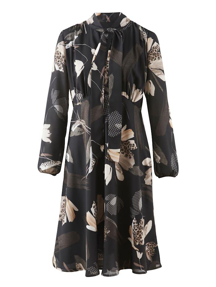 Alba Moda Kleid aus fließender Chiffon-Quaität, Schwarz/Creme-Weiß