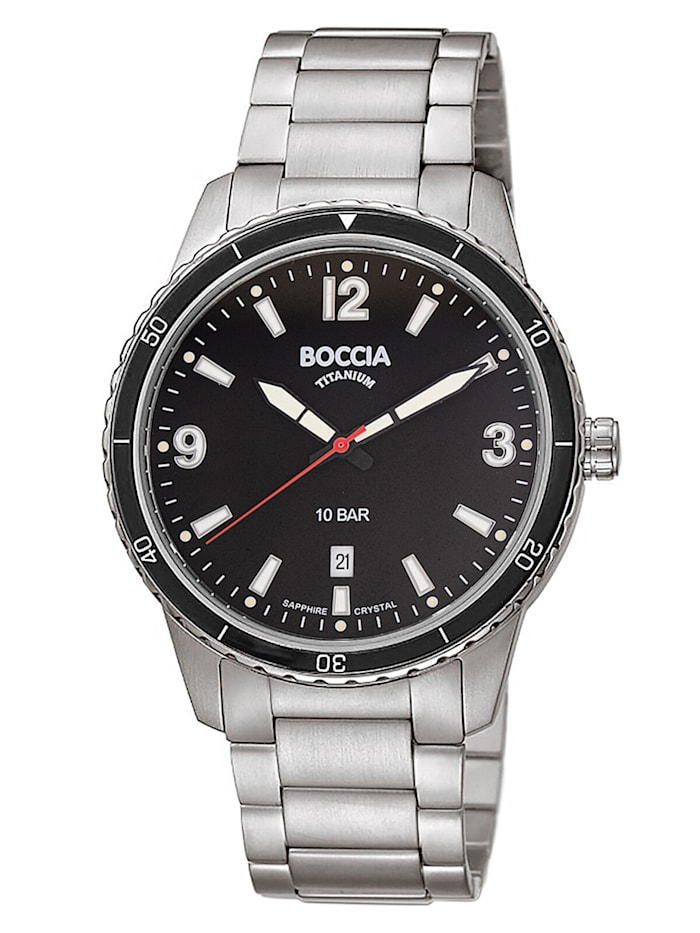 Boccia Herren-Armbanduhr Titan mit Saphirglas, Schwarz