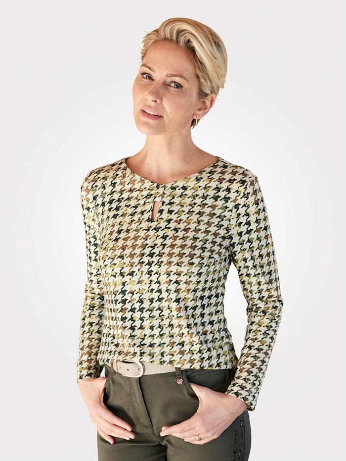 Barbara Lebek Shirt met print rondom, Groen/Ecru