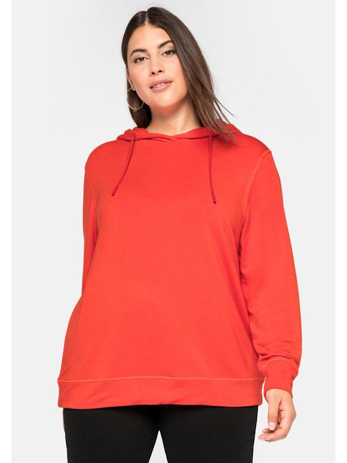 Sheego Sheego Sweatshirt mit 3D-Druck vorn, rostorange
